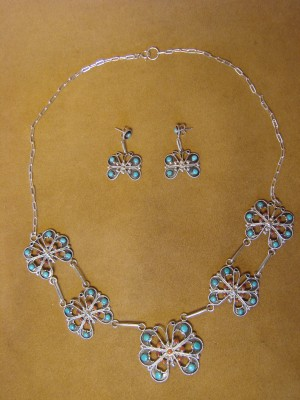 Zuni Indian Turquoise & Coral Handmade Butterfly Necklace Earring Set by A. Tsatie