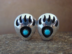 Navajo Indian Jewelry Sterling Silver Turquoise Bear Paw Clip On Earrings!