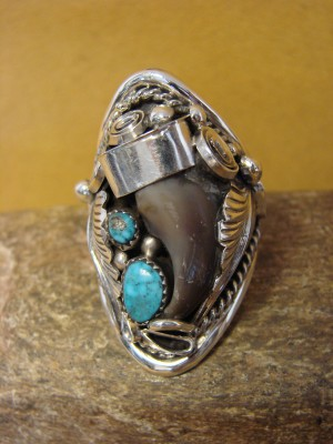 Navajo Jewelry Sterling Silver Turquoise Faux Claw Men's Ring by Thomas! Size 13