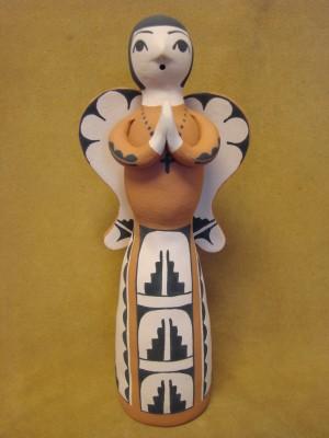 Jemez Indian Pueblo Handmade Clay Angel Figurine by Angel and Ralph Bailon