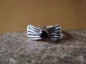 Navajo Indian Jewelry Sterling Silver Onyx Ring - L. Shorty -  Size 5.5