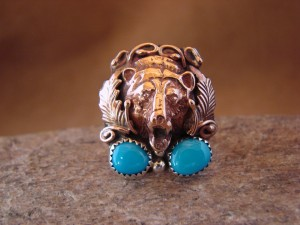 Native American Indian Hand Stamped Copper & Turquoise Bear Ring, Size 8 1/2
