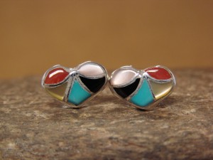 Zuni Indian Jewelry Sterling Silver Multistone Inlay Heart Post Earrings! by Leekya