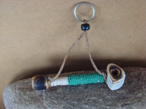 Navajo Indian Handmade & Beaded Antler Peace Pipe Key Chain