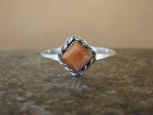Native American Sterling Silver Square Orange Spiny Oyster Ring - Size 5.0