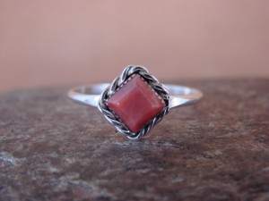 Native American Sterling Silver Square Red Spiny Oyster Ring - Size 5.5