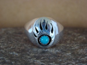 Native American Jewelry Sterling Silver Turquoise Bear Paw Ring! Size 9 1/2
