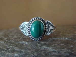 Native American Indian Jewelry Sterling Silver Malachite Ring, Size 5  Mariano