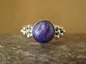 Native American Indian Jewelry Sterling Silver Charoite Ring, Size 5 1/2  D Kenneth