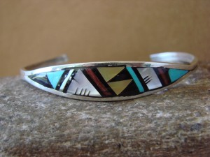 Zuni Indian Sterling Silver Turquoise, Coral, & Pearl Inlay Bracelet! II0179