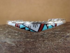 Zuni Indian Jewelry Sterling Silver Multi-stone Inlay Bracelet by Q. Bowannie