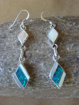 Zuni Indian Jewelry Sterling Silver Inlay Earrings Jonathan Shack - LL0164