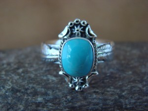 Native American Jewelry Sterling Silver Turquoise Ring! Size 9 1/2 Platero