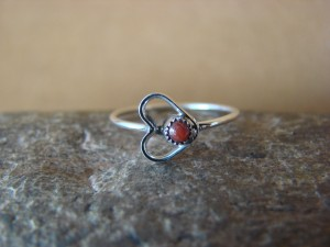 Small Zuni Indian Sterling Silver Coral Heart Ring, Size 5 1/2 - Pablito