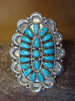 Large Navajo Indian Sterling Silver Turquoise Cluster Ring, Size 8 by J. Wilson