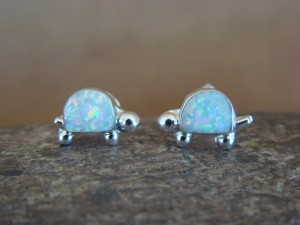 Native American Sterling Silver White Opal Turtle Post Earrings by Trista Siow