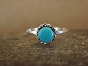 Native American Jewelry Sterling Silver Turquoise Ring! Size 5 1/2  Geneva Chuyate