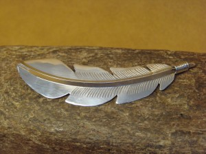 Native American Indian Jewelry Sterling Silver Feather Pin by Billy Long