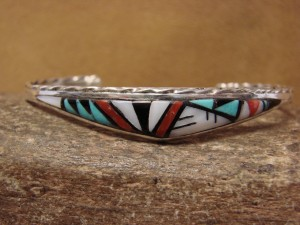 Zuni Indian Jewelry Sterling Silver Multi-stone Inlay Bracelet by Quinton Bowannie
