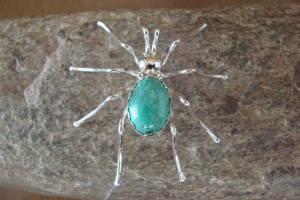 Navajo Indian Sterling Silver Turquoise Spider Pin by Spencer! Jewelry