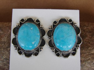 Native American Nickel Silver Turquoise Post Earrings by Jackie Cleveland