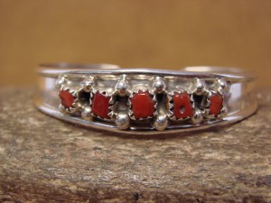 Navajo Indian Sterling Silver Coral Row Baby Bracelet by J. Lincoln