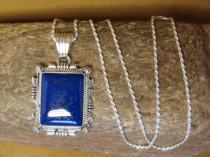 Navajo Indian Sterling Silver Lapis Pendant Necklace by D. Benally