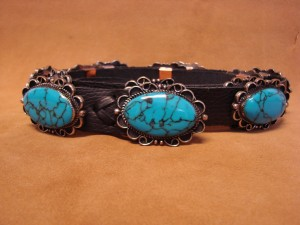 Navajo Indian Stamped Silver Turquoise Concho Belt by Jackie Cleveland!