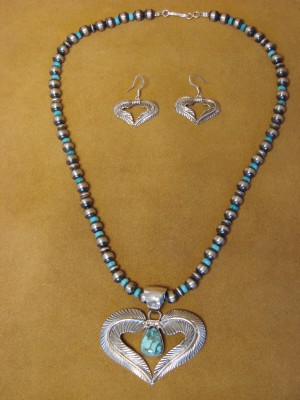 Navajo Indian Sterling Silver Turquoise Heart Earring & Necklace Set by Shakey