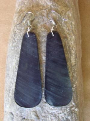 Navajo Indian Sterling Silver Black Jet Slab Earrings!