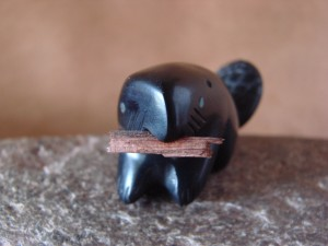 Zuni Indian Hand Carved Jet Beaver by Justin Red Elk