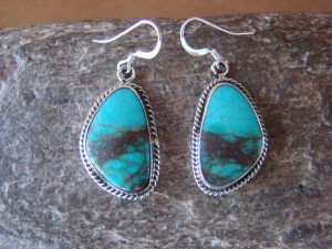 Navajo Indian Sterling Silver Turquoise Dangle Earrings - Lee Shorty