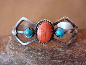 Navajo Indian Jewelry  Turquoise Spiny Oyster Bracelet! by Eva & Linberg Billah