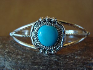 Navajo Indian Turquoise Sterling Silver Bracelet - Platero