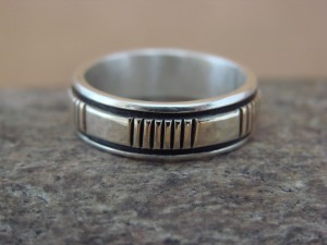 Native American Sterling Silver 14k Gold Ring Band, Size 7 1/2 by Bruce Morgan!