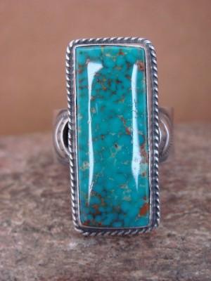 Navajo Sterling Silver Kingman Turquoise Ring, Adjustable Size 9.5! Virgil Begay