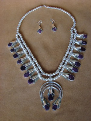Native American Jewelry Spiny Oyster Squash Blossom Necklace Set Louise Yazzie!
