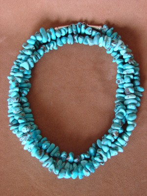 Native American Indian Jewelry Hand Strung Turquoise Necklace