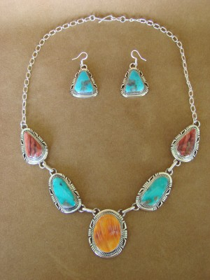 Navajo Indian Sterling Silver Turquoise Spiny Oyster Necklace and Earrings Set by Shakey