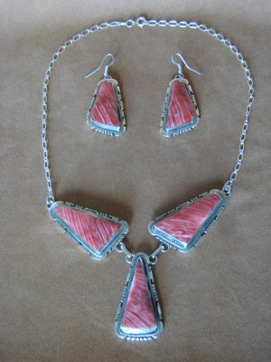 Native American Sterling Silver Spiny Oyster Necklace and Earrings Set! McCray