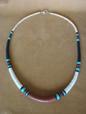 Santo Domingo Indian Hand Strung Pipestone Turquoise Necklace by Delbert Crespin