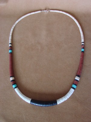 Santo Domingo Indian Hand Strung Jet Turquoise Necklace by Delbert Crespin