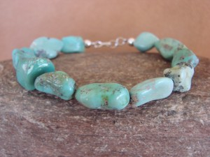 Native Indian Hand Strung Turquoise Medium Nugget Bracelet by Yazzie