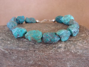 Native Indian Hand Strung Blue Turquoise Medium Nugget Bracelet by Yazzie