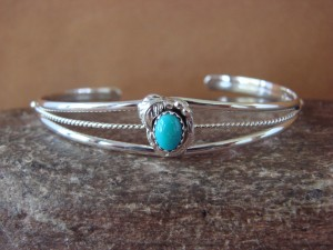 Navajo Indian Jewelry Sterling Silver Turquoise Bracelet by J.Largo