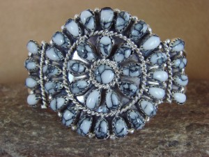 Native American Indian Jewelry Sterling Silver Howlite Cluster Bracelet - Begay