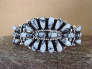 Native American Indian Jewelry Sterling Silver Howlite Cluster Bracelet