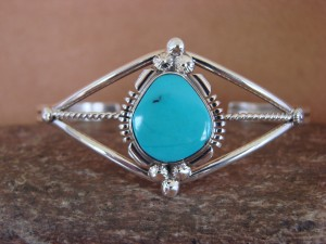 Navajo Indian Jewelry Sterling Silver Turquoise Bracelet by Marie Begay.