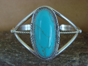 Navajo Indian Jewelry Sterling Silver Turquoise Bracelet by Begaye