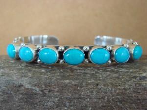 Navajo Sterling Silver Turquoise 7 Stone Bracelet! Raymond Delgarito